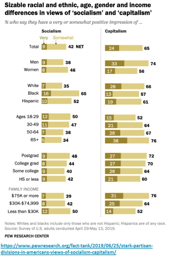 Demographic views on capitalism and socialism