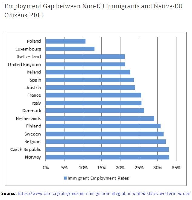 Employment Gap between Non-EU Immigrants and Native-EU Citizens 2015
